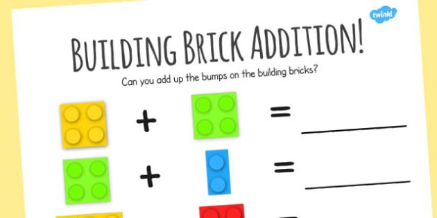 Building Bricks  Addition Worksheet - building bricks, toys, add, adding, numeracy