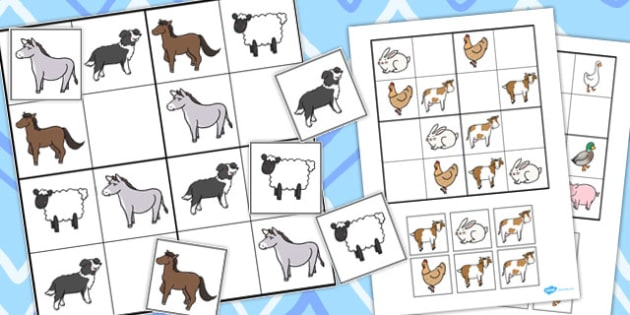 Twinkl Farm Animal Colouring Pages : Animal sudoku activities activity game games puzzle