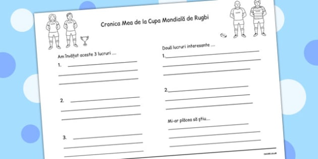 Jurnalul de la Cupa Mondiala de Rugbi - scriere, Romanian