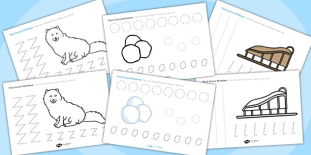 Polar Regions Themed Pencil Control Worksheets - polar regions, pencil control worksheets, themed pencil control worksheets, polar regions themed