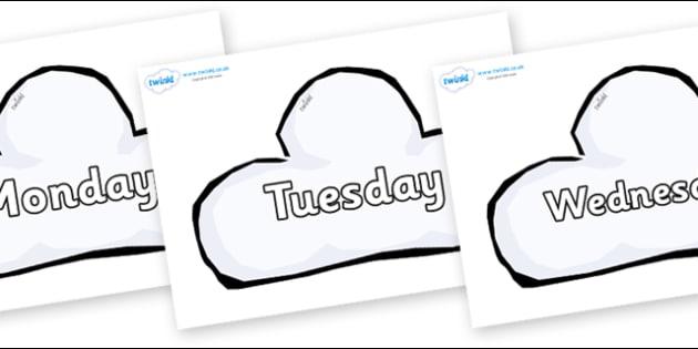 Days of the Week on Weather Symbols (Cloud) - Days of the Week, Weeks poster, week, display, poster, frieze, Days, Day, Monday, Tuesday, Wednesday, Thursday, Friday, Saturday, Sunday