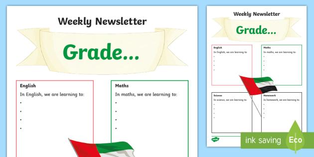 Weekly Newsletter Template - UAE, ADEC, MOE, animals, emirates, information, weekly, newsletter