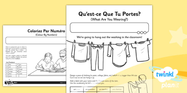 French: All About Me Year 3 Home Learning Tasks