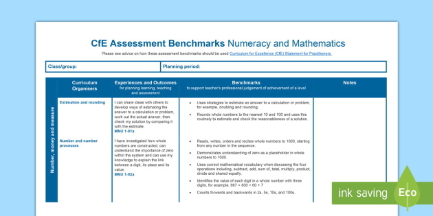 CfE Benchmarks First Level Numeracy and Mathematics Assessment Tracker-Scottish