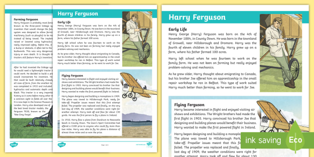 Harry Ferguson Fact File - STEM, flight, farming, thematic units, inventors, inventions, Northern Ireland, County Down, biograp
