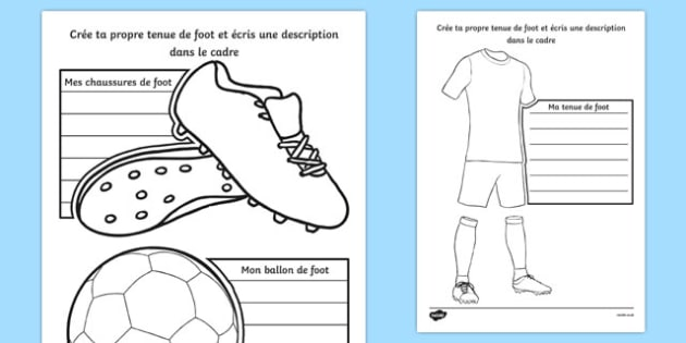 Design a Football Strip French Activity Sheet - French, worksheet
