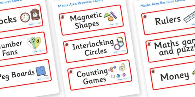 Ladybird Themed Editable Maths Area Resource Labels - Themed maths resource labels, maths area resources, Label template, Resource Label, Name Labels, Editable Labels, Drawer Labels, KS1 Labels, Foundation Labels, Foundation Stage Labels, Teaching La