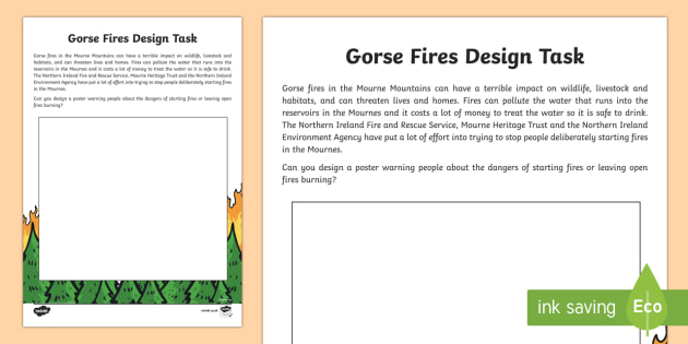 Preventing Gorse Fires Design Task Activity Sheet - World Around Us, gorse, fires, Mourne Mountains, Northern Ireland, County Down, environment