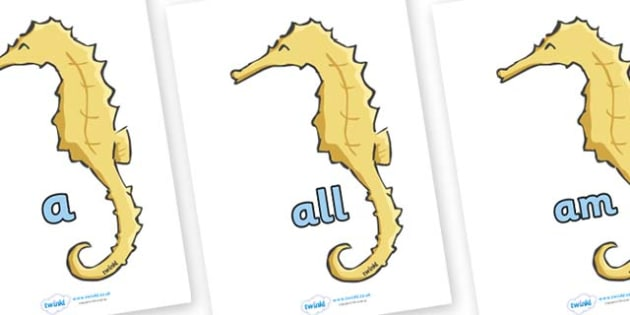 Foundation Stage 2 Keywords on Seahorses - FS2, CLL, keywords, Communication language and literacy,  Display, Key words, high frequency words, foundation stage literacy, DfES Letters and Sounds, Letters and Sounds, spelling