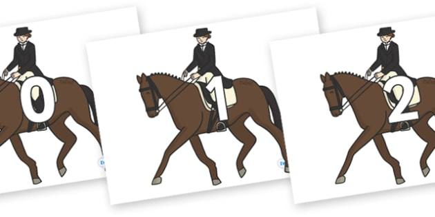 Numbers 0-31 on Equestrian (Horses) - 0-31, foundation stage numeracy, Number recognition, Number flashcards, counting, number frieze, Display numbers, number posters