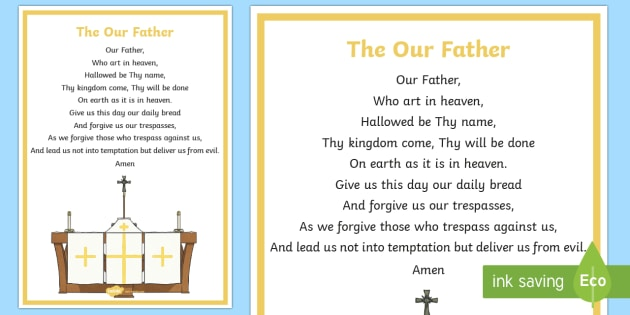 The Our Father A4 Display Poster - CfE Catholic Christianity, prayers, mass responses, The Our Father, Scottish