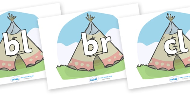 Initial Letter Blends on Tipis - Initial Letters, initial letter, letter blend, letter blends, consonant, consonants, digraph, trigraph, literacy, alphabet, letters, foundation stage literacy