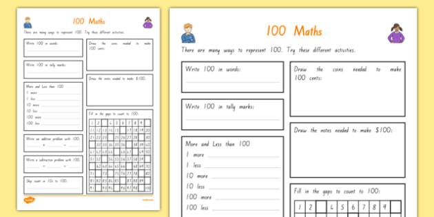 100 Days of School Maths Activity Sheet, worksheet