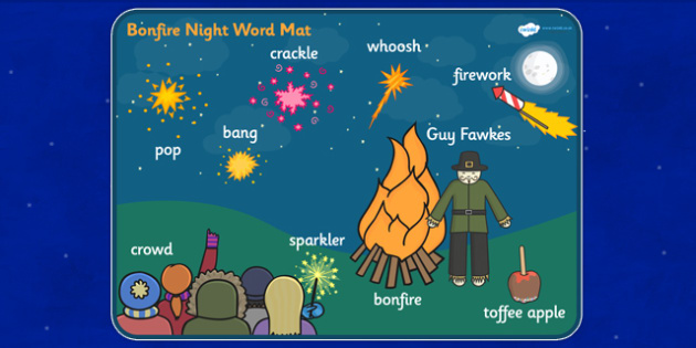 Bonfire Night Scene Word Mat - bonfire night, vocabulary mat, word mat, key words, topic words, word poster, vocabulary poster, scene words, literacy