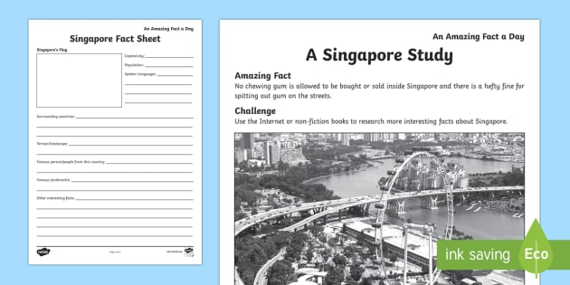 A Singapore Study Activity Sheet, worksheet