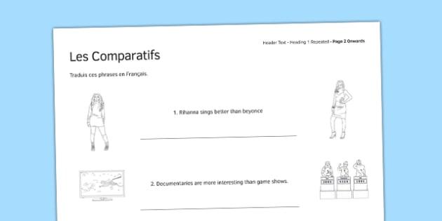 Les comparatifs Exercices - comparatives, practice exercises, practice, exercise, french, language