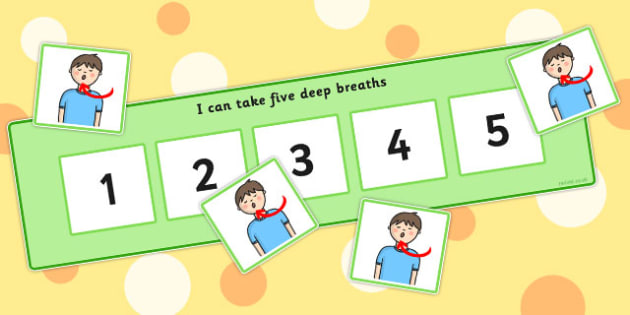 I Can Take Five Breaths Counting Board - breaths, five, breathe, chart, activity