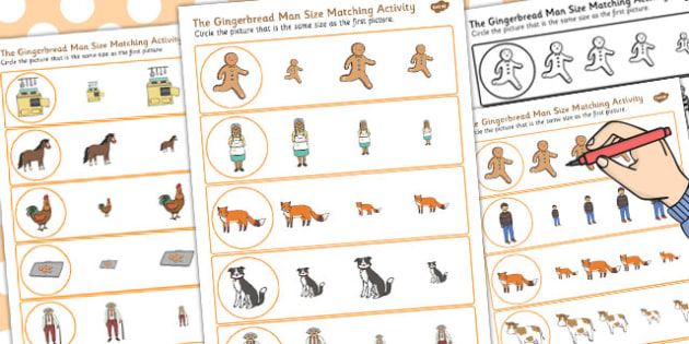 The Gingerbread Man Size Matching Worksheet - size, matching