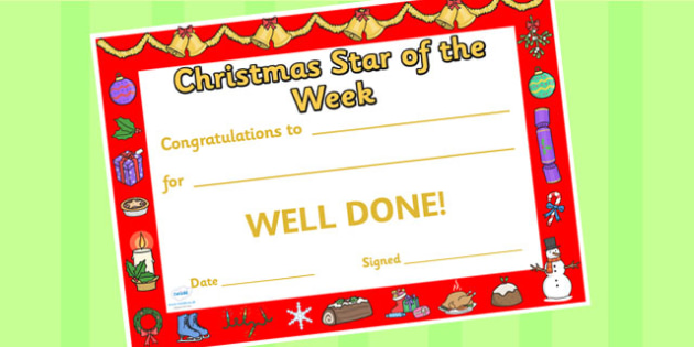 Star of the Week Christmas Themed Certificate - christmas, star
