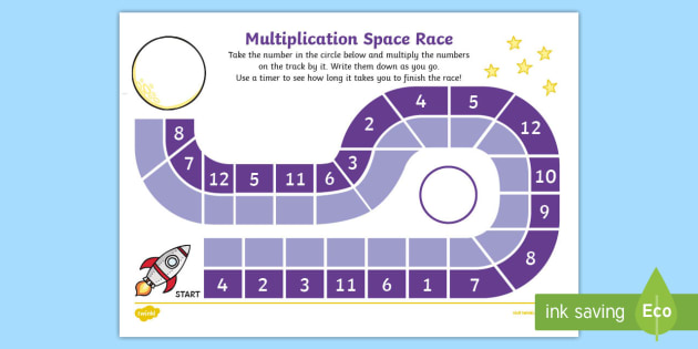Multiply by 10 Space Race Activity Sheet - multiply by 10, multiply, multiplication, race, activity, game, activity sheet, worksheet