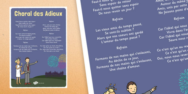 Choral des Adieux French - french, language, choral des adieux, new year, song, lyrics