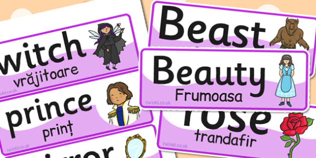 Beauty and Beast Word Cards EAL Romanian Translation - romanian