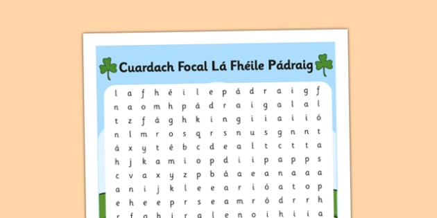 Saint Patrick's Day Word Search Gaeilge - wordsearch, Saint Patrick, vocabulary, Saint Patrick's Day, Gaeilge, Irish