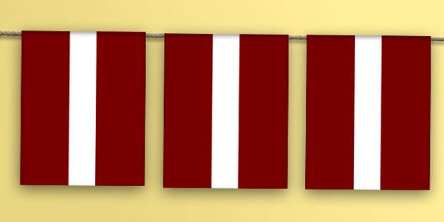 Latvia Flag Bunting - latvia flag, latvia, flag, bunting, display bunting, display