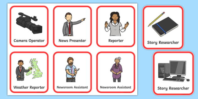 Newsroom Role Play Badges - news, newsroom, play badges, role play, play, label, news presenter, reporter, camera, headlines, story, press, camera operator, bulletin