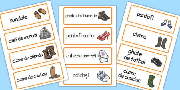 Magazinul de Pantofi, joc de rol, cartonase cu imagini si cuvinte, Romanian