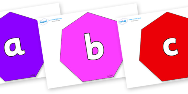 Phoneme Set on Heptagons - Phoneme set, phonemes, phoneme, Letters and Sounds, DfES, display, Phase 1, Phase 2, Phase 3, Phase 5, Foundation, Literacy