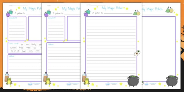 Halloween Magic Potion Writing Worksheet - halloween, halloween magic potion writing frame, magic potion writing template, halloween writing frame, writing