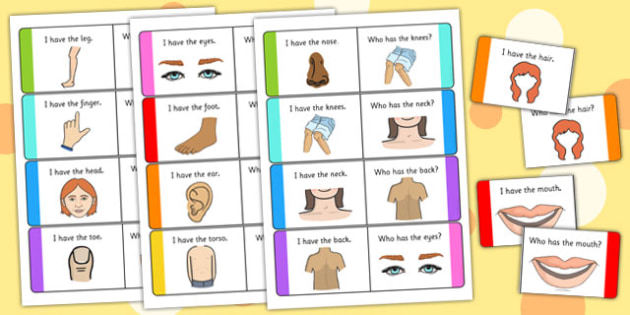 Parts of the Body Loop Cards - body, loop cards, loop, cards, activity