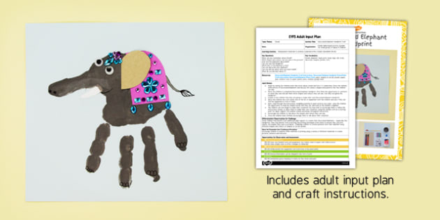 Decorated Elephant Handprints EYFS Adult Input Plan and Craft Pack - decorated, elephant, handprint, craft
