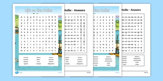 The First Fleet Life on the Hulks Word Search - australia, The First Fleet, word search, hulks, convicts, ships, first fleet