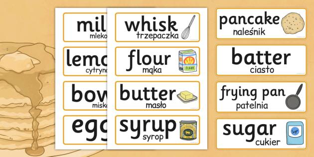 Pancake Day Recipe Word Cards Polish Translation - polish, recipe