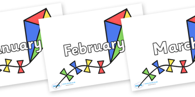 Months of the Year on Kites - Months of the Year, Months poster, Months display, display, poster, frieze, Months, month, January, February, March, April, May, June, July, August, September