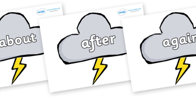 KS1 Keywords on Weather Symbols (Stormy) - KS1, CLL, Communication language and literacy, Display, Key words, high frequency words, foundation stage literacy, DfES Letters and Sounds, Letters and Sounds, spelling