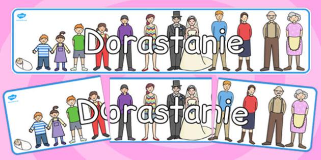 Banner na gazetkę ścienną Dorastanie po polsku - przedszkole , Polish