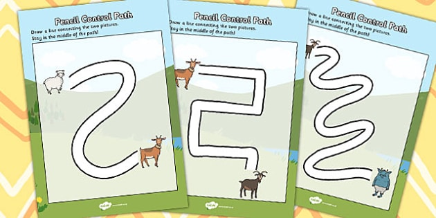 The Three Billy Goats Gruff Pencil Control Path Worksheets - path