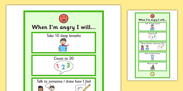 When I'm Angry I Will - angry, I will, emotions, chart, sheet