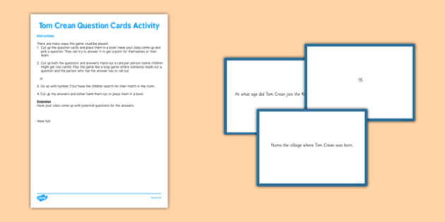 Tom Crean Question Cards Activity - Tom Crean, Irish History, South Pole, Antarctica, question cards