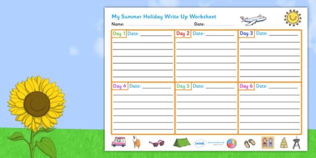 Summer Holiday Write Up Worksheet - seasons, weather, vacation