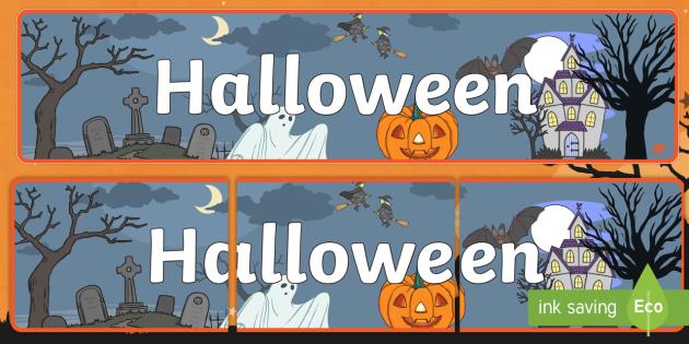 Banderole d'affichage : Halloween - Cimetière, peur, frissons, décoration, cycle2,cycle 1