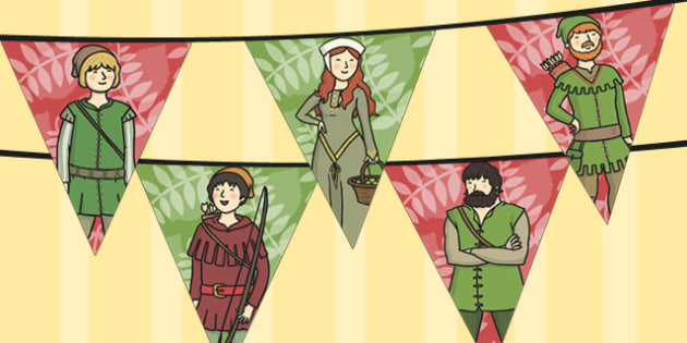 Robin Hood Bunting - robin, hood, bunting, display, merry men