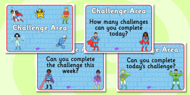 Challenge Area Pack Signs - Challenge, gifted and talented, Area Signs, challenges, challenge resources, Banner, Foundation Stage Area Signs, Classroom labels, Area labels, Area Signs, Classroom Areas, Poster, Display, Areas