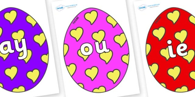 Phase 5 Phonemes on Easter Eggs (Hearts) - Phonemes, phoneme, Phase 5, Phase five, Foundation, Literacy, Letters and Sounds, DfES, display