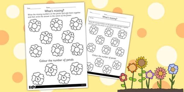 Number Flowers Worksheet - flowers, worksheet, number, numbers