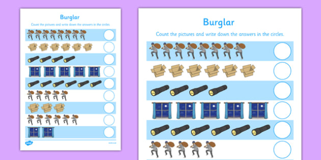 Burglar Counting Sheet - burglar bill, burglar, counting, count, activity