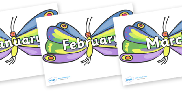 Months of the Year on Beautiful Butterflies to Support Teaching on The Very Hungry Caterpillar - Months of the Year, Months poster, Months display, display, poster, frieze, Months, month, January, February, March, April, May, June, July, August, Sept
